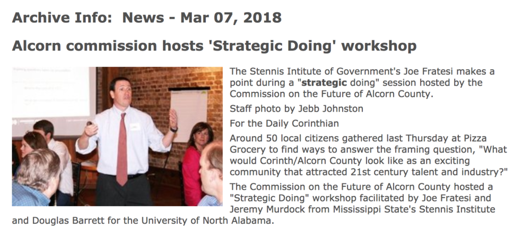 "Strategic Doing in Corinth, Mississippi: ""Positive, Pro-community Critical Thinking"""